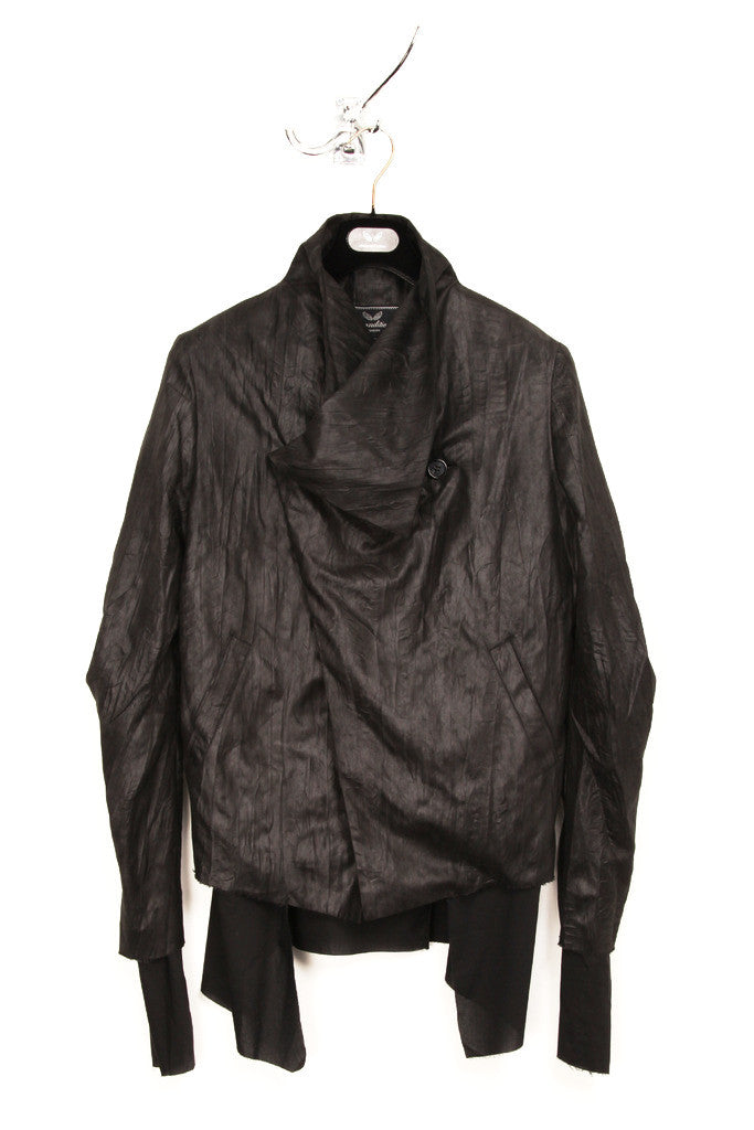 UNCONDITIONAL Womens Black Microfibre Asymmetric Drape Front Jacket