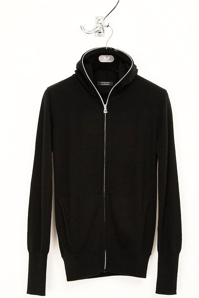 UNCONDITIONAL Black cashmere full zip up hoodie.