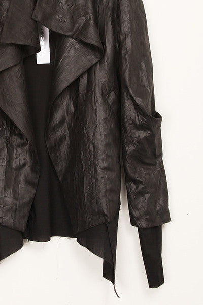 UNCONDITIONAL Black microfibre asymmetric drape front jacket.