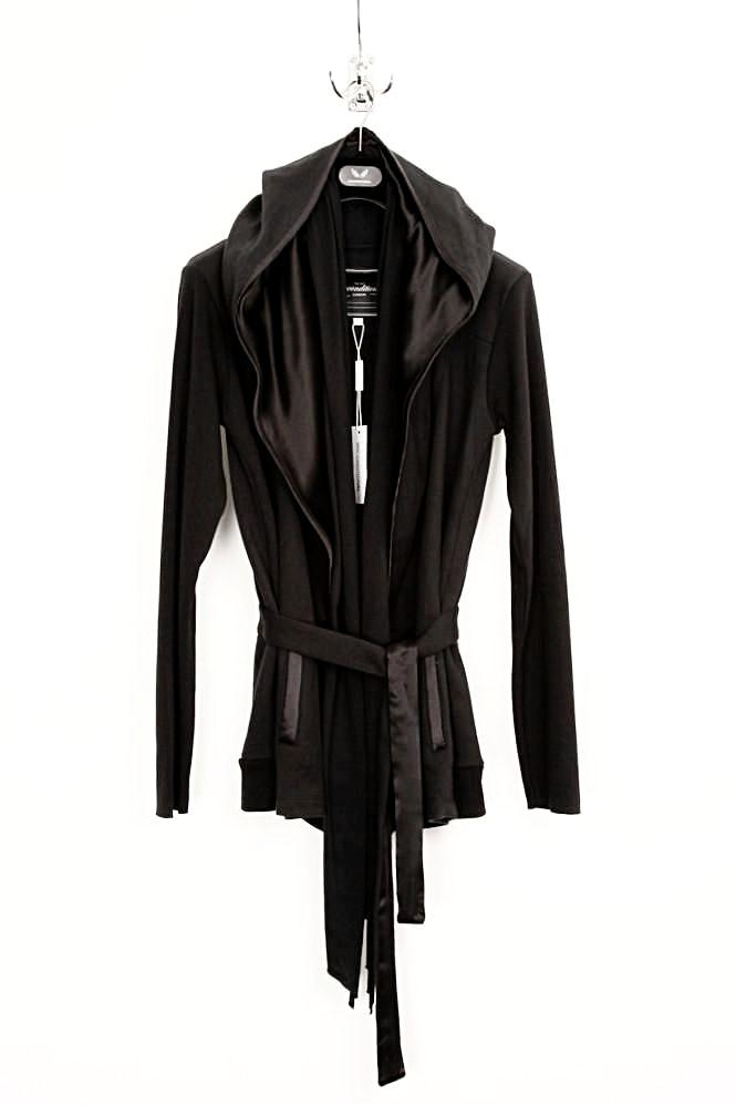 UNCONDITIONAL black and black ghost hoodie scarf belted sweat jacket.