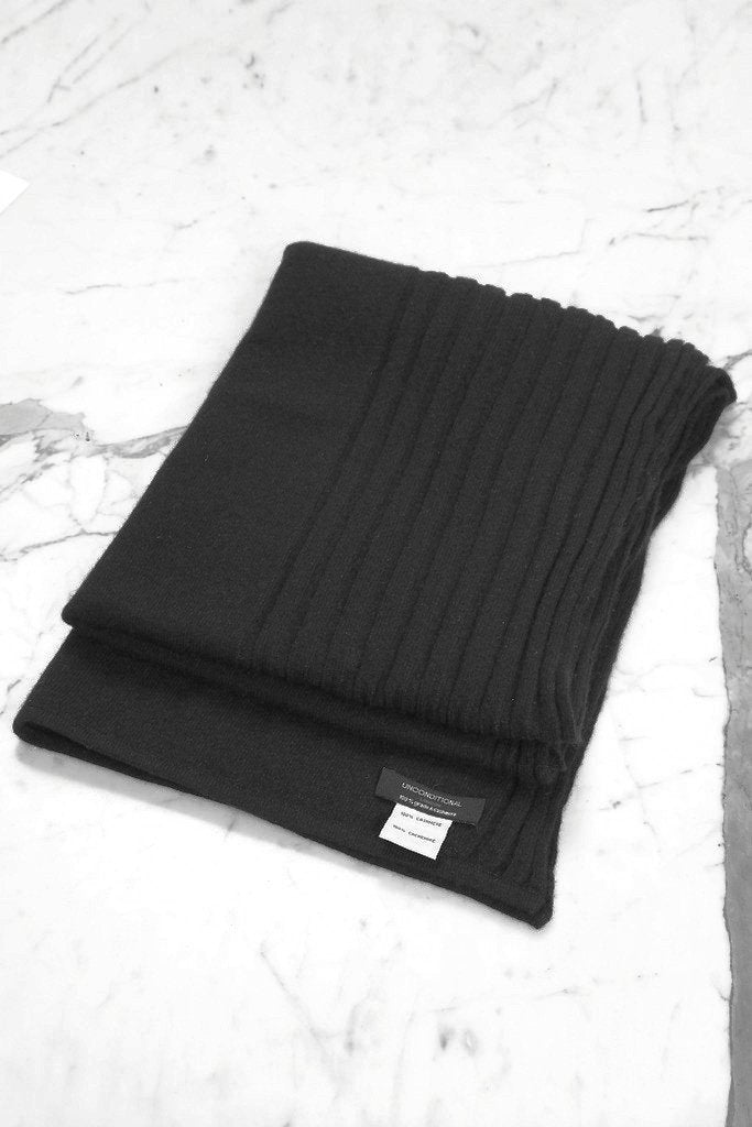 UNCONDITIONAL Large Black Grade A cashmere flat and rib Nunu scarf.