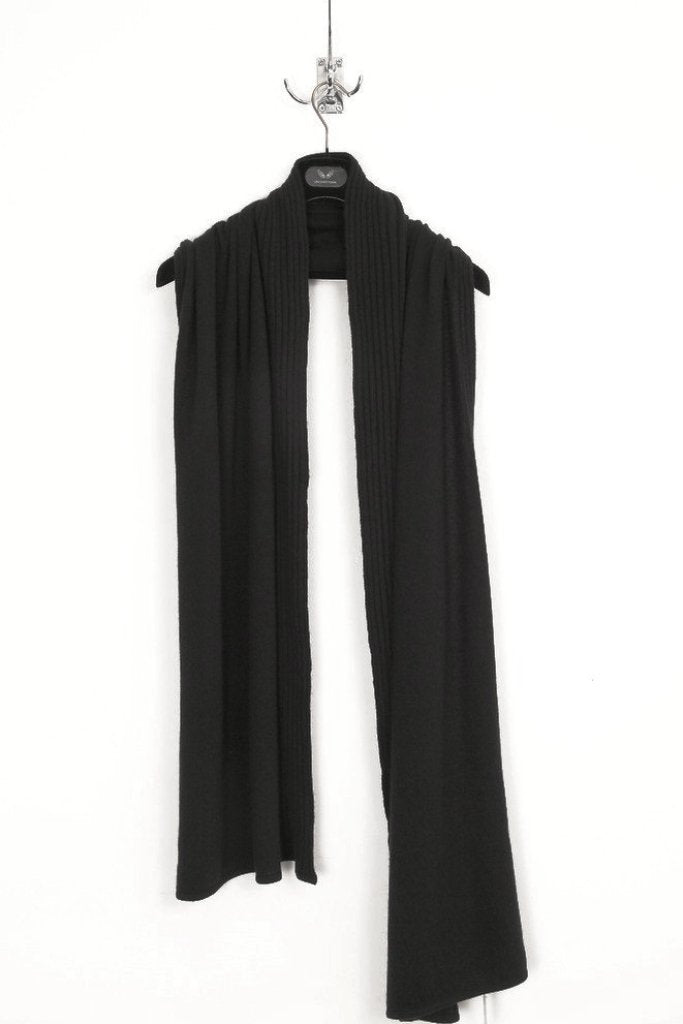 UNCONDITIONAL LARGE BLACK GRADE A CASHMERE PART-RIBBED SCARF