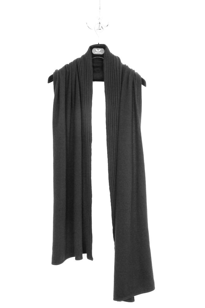 UNCONDITIONAL Large Black Grade A cashmere flat and rib Nunu scarf