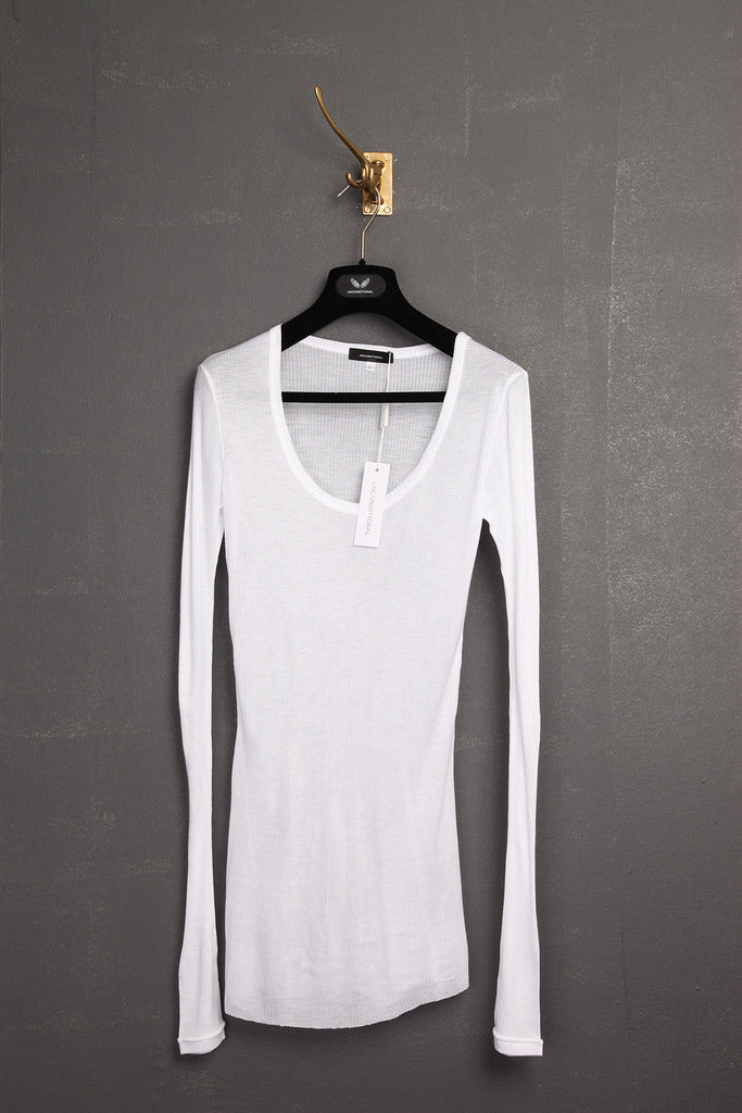 UNCONDITIONAL AW19 white long sleeved , scoop necked, viscose ribbed top