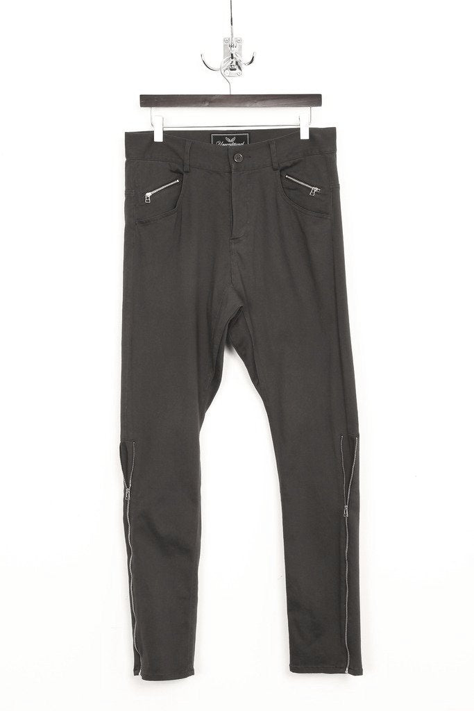 UNCONDITIONAL Dark Grey drop crotch side zip jeans.