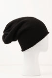 UNCONDITIONAL Black hand knit long cap in heavy Grade A cashmere knit.