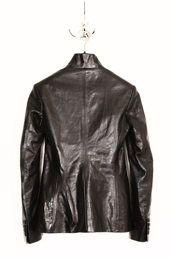 UNCONDITIONAL ss19 Ladies leather high collar cut away jacket.