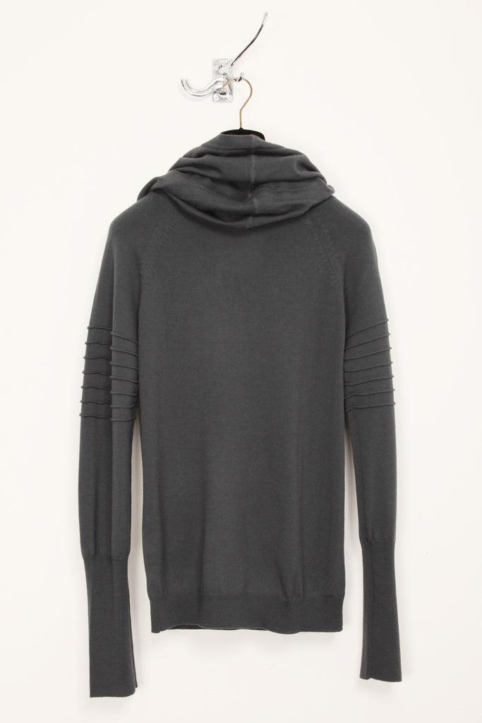 UNCONDITIONAL dark grey funnel hoodie jumper with arm ribs
