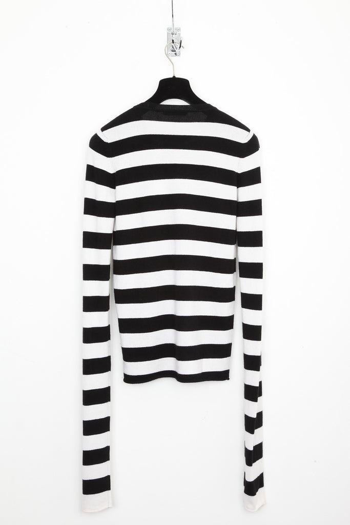 UNCONDITIONAL BLACK AND WHITE MERINO STRIPED EXTRA LONG SLEEVED JUMPER