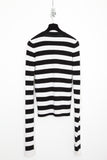 UNCONDITIONAL signature Black and white striped extra long sleeved merino jumper