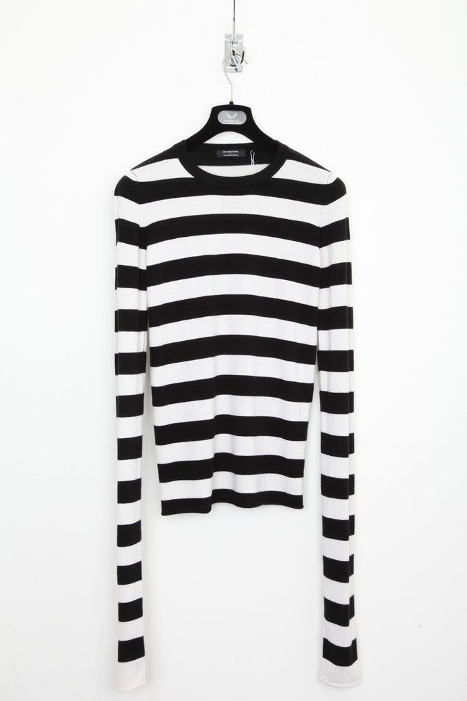 UNCONDITIONAL Black / white striped cashmere extra long sleeved sweater CASHM3E-2016