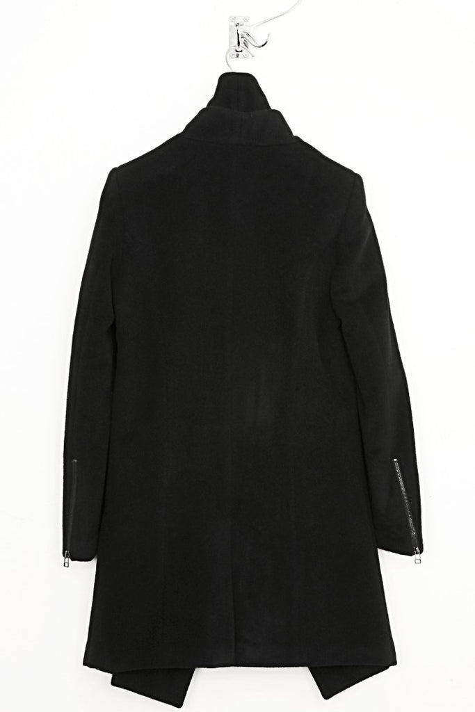 UNCONDITIONAL AW17 Black signature 3/4 fin panel coat in black pure new wool