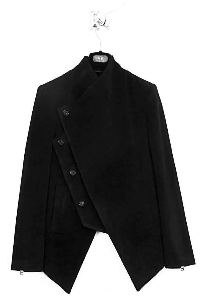 UNCONDITIONAL Black double layer asymmetric short coat with zip out panel.
