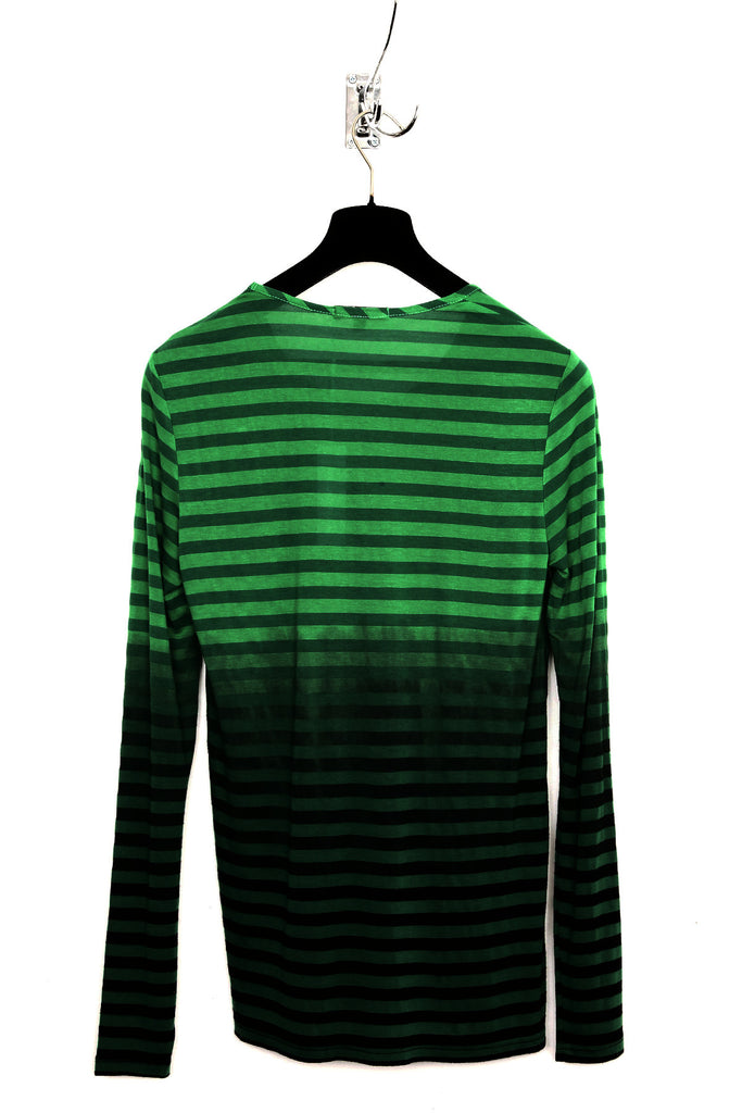 UNCONDITIONAL green stripes with black dip dye round neck long sleeve t-shirt.