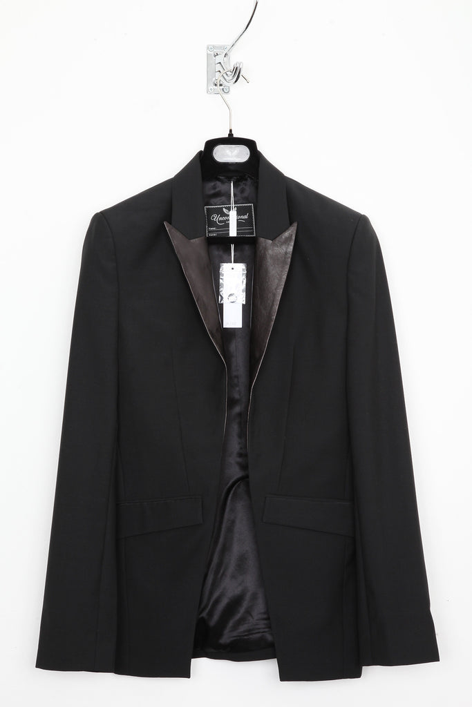 UNCONDITIONAL Black cutaway jacket with contrast paper leather lapel.