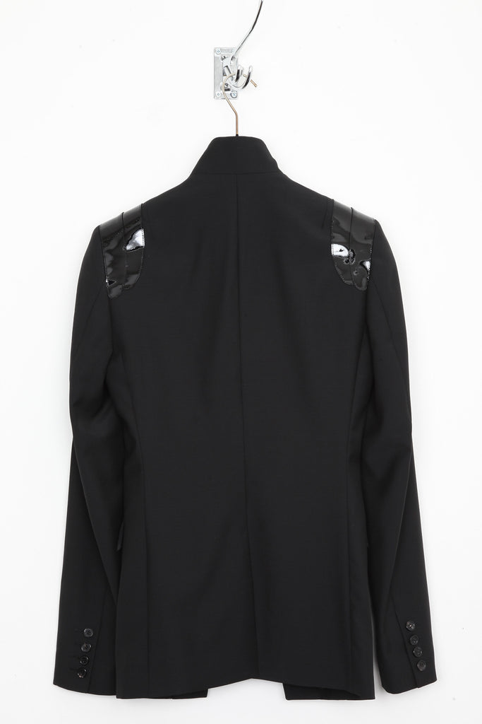 UNCONDITIONAL SS20 black cutaway jacket with patent leather shoulders