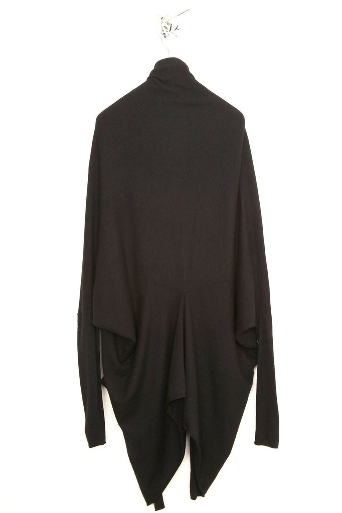 UNCONDITIONAL MENS BOILED MERINO WOOL black oversized COCOON cardigan.