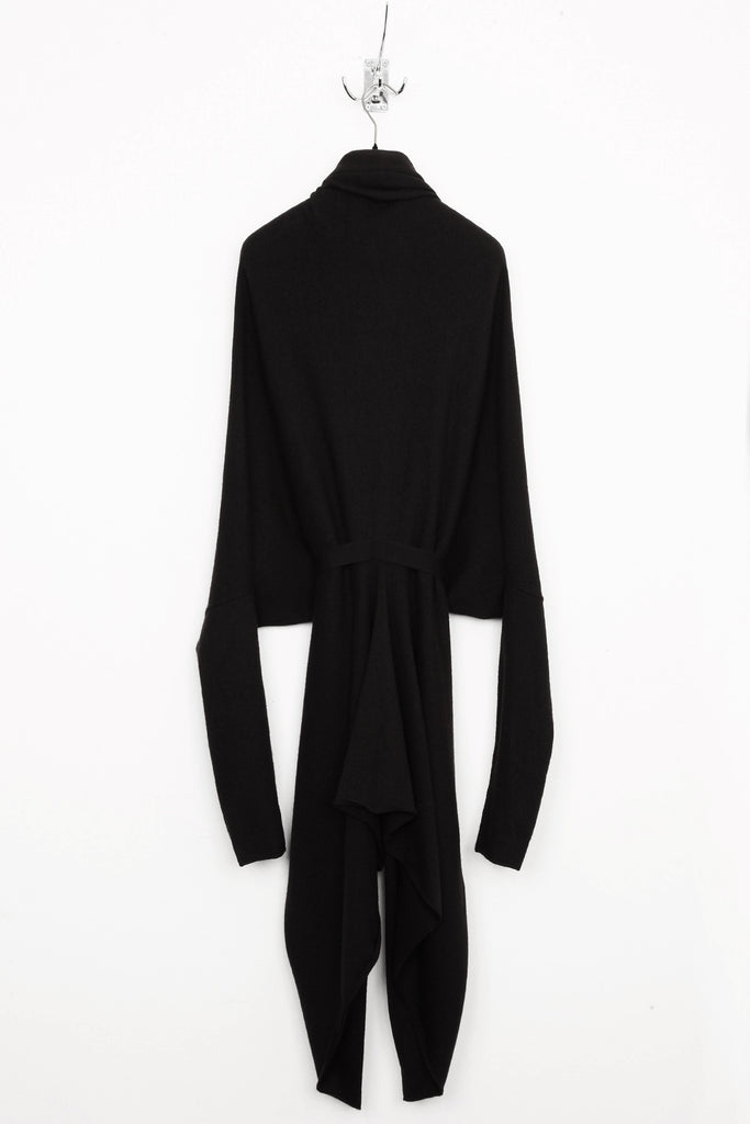 UNCONDITIONAL Black belted oversized triangular cocoon cardigan.
