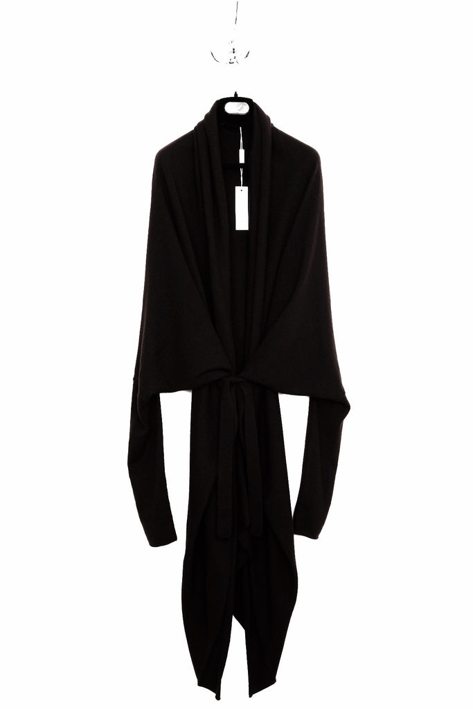 UNCONDITIONAL Aubergine belted oversized triangular cocoon cardigan