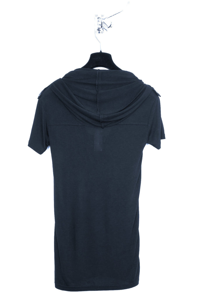 UNCONDITIONAL Navy rayon short sleeved ghost hoodie.