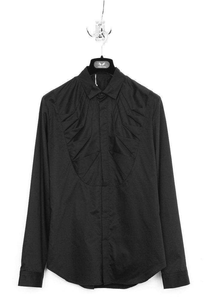UNCONDITIONAL AW18 Black signature origami tuxedo bib shirt.