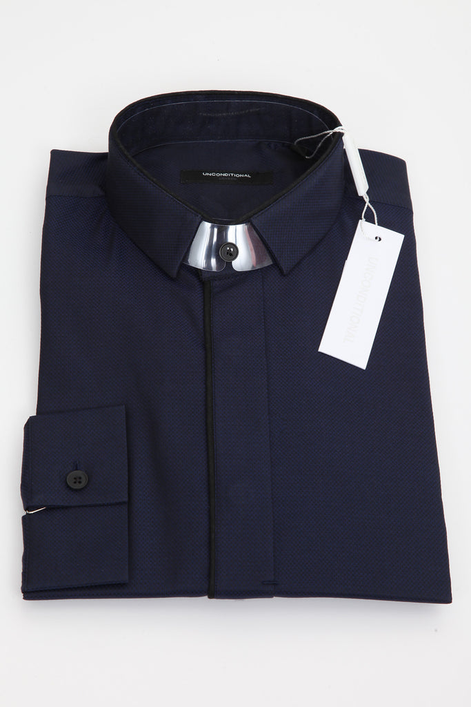UNCONDITIONAL Navy Blue pique shirt with black piped collar and placket