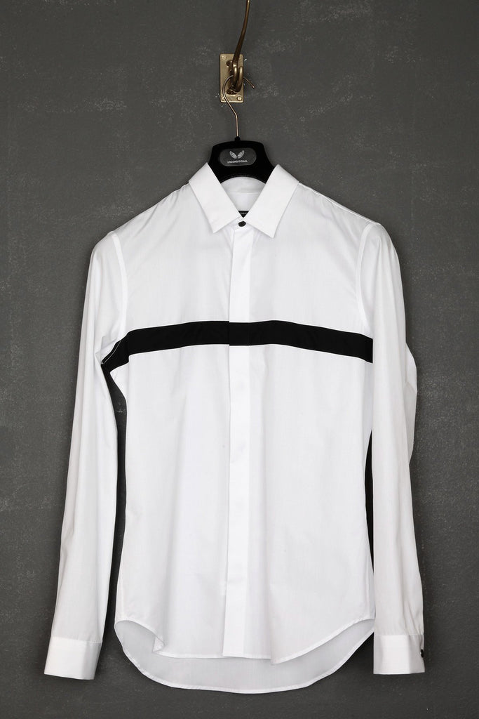 UNCONDITIONAL white and black bondage shirt.