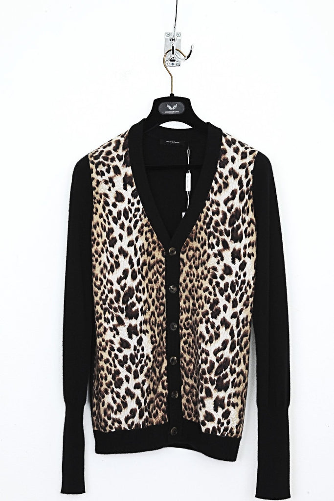 UNCONDITIONAL Black Cashmere Cardigan with Leopard print front