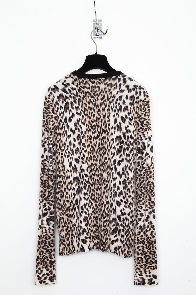 UNCONDITIONAL Cashmere Ocelot print  jumper with contrast black crew neck black round neck