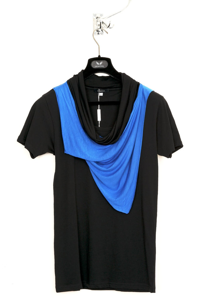UNCONDITIONAL electric blue and black double drape neckerchief scarf T-shirt.
