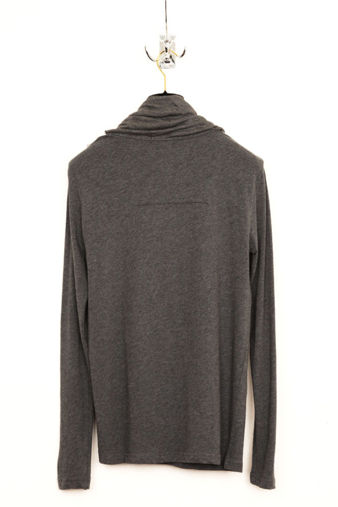 UNCONDITIONAL L/S Slate grey T-shirt with flannel & slate double drape neckerchief scarf