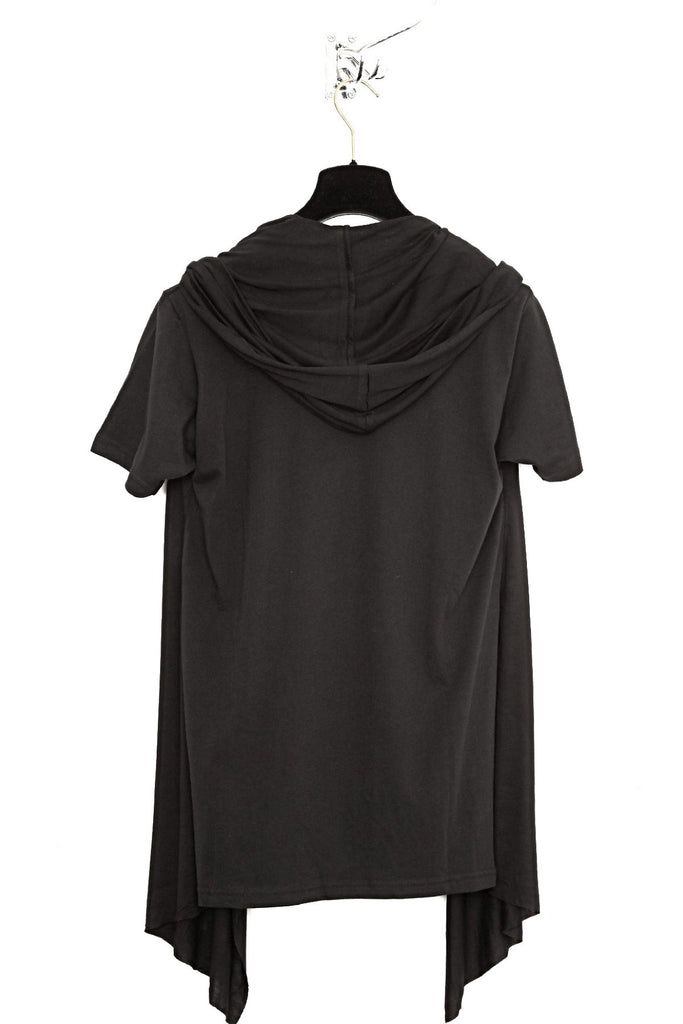 UNCONDITIONAL Black combination jersey hooded cape waistcoat t-shirt.
