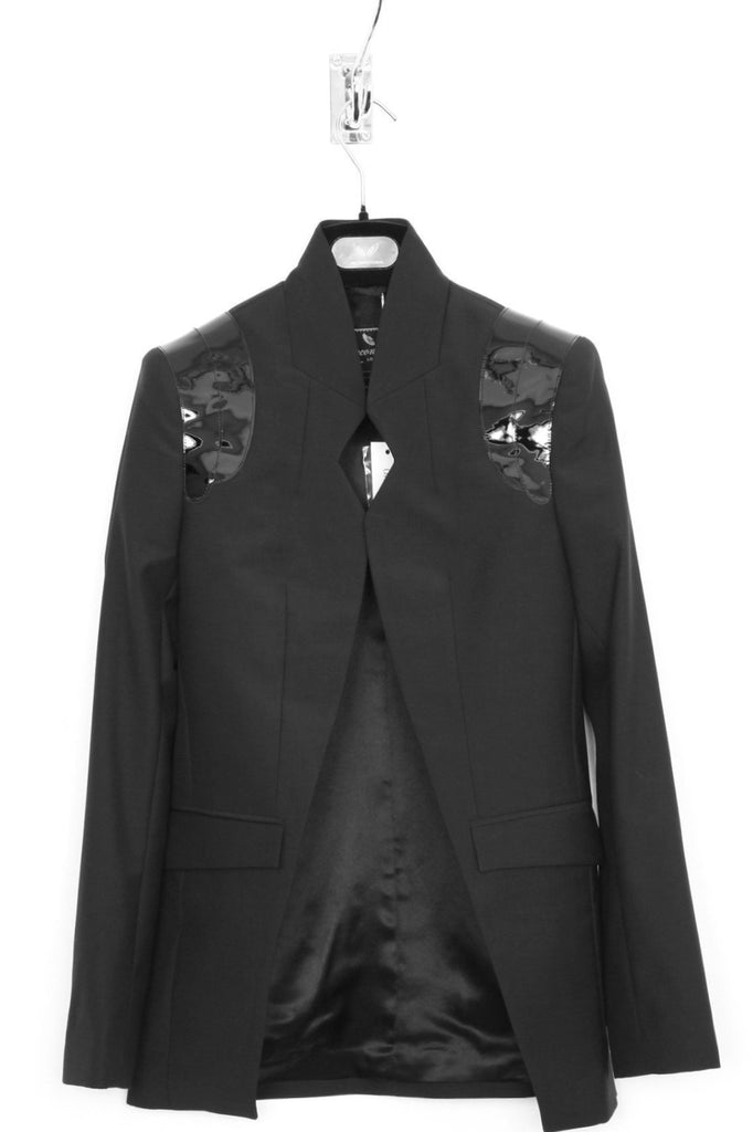 UNCONDITIONAL SS19 Black notched cutaway jacket with patent leather shoulders