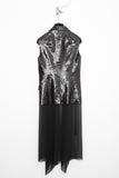 UNCONDITIONAL Black sequinned sleeveless jacket with long inner silk drapes.
