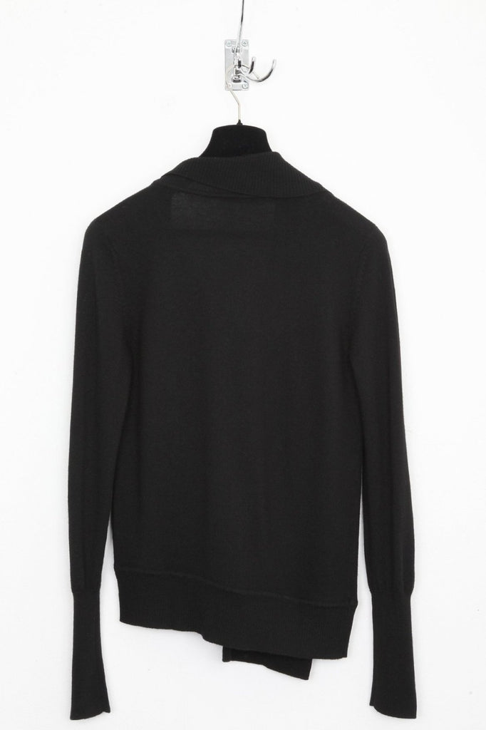 UNCONDITIONAL Black merino V- neck drape front sweater