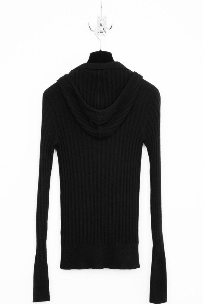 UNCONDITIONAL Black ribbed hooded plunge front jumper.