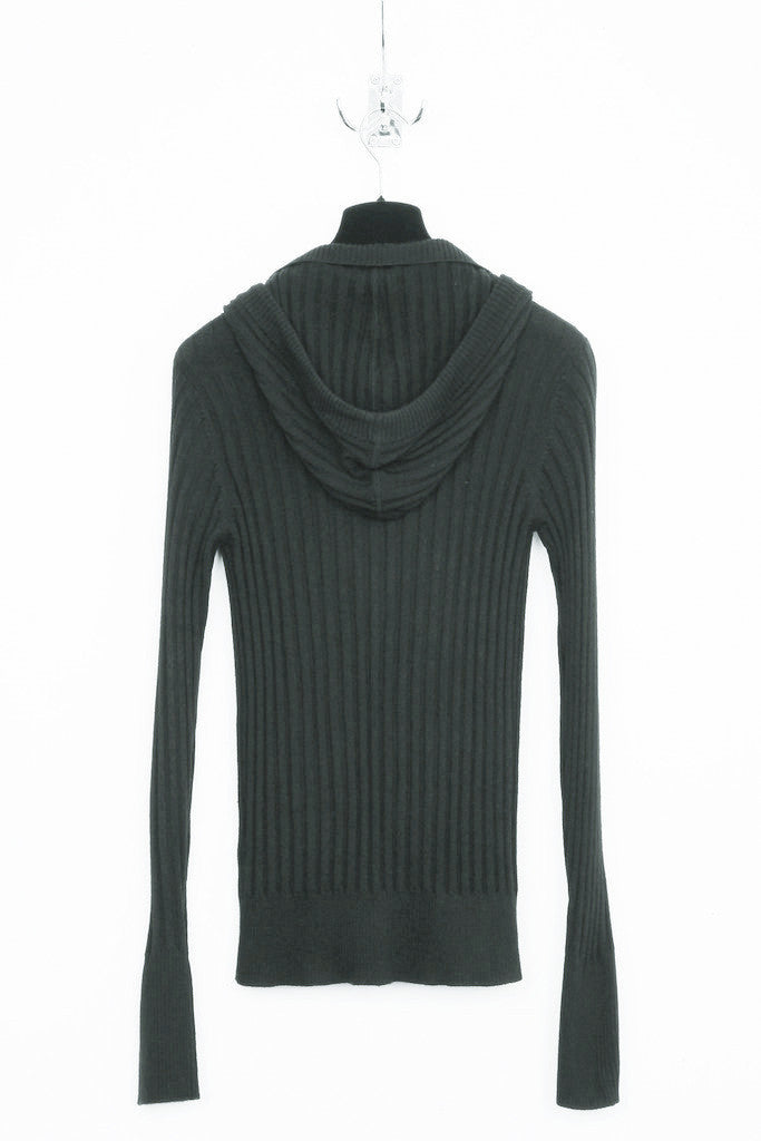 UNCONDITIONAL Soil Grey ribbed hooded plunge front jumper.