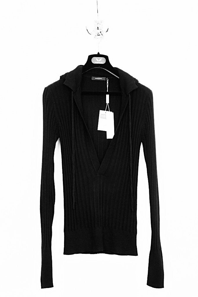 UNCONDITIONAL Black merino ribbed hooded plunge front jumper.