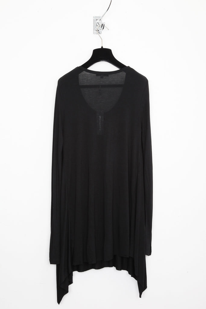 UNCONDITIONAL black long sleeve handkerchief top.
