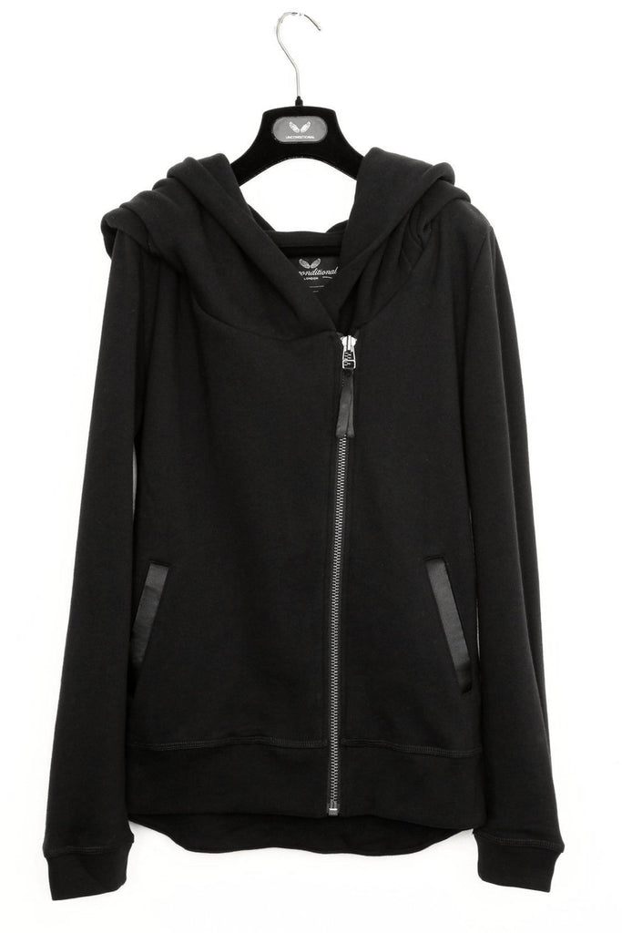 UNCONDITIONAL ladies black biker hoodie with back tail.