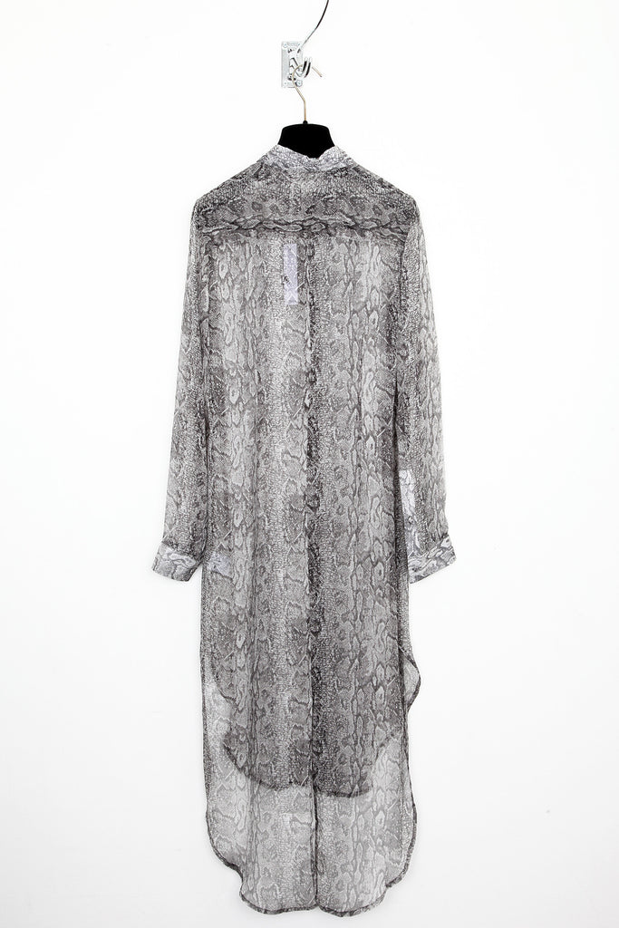 UNCONDITIONAL snake print long shirt dress with split tail.