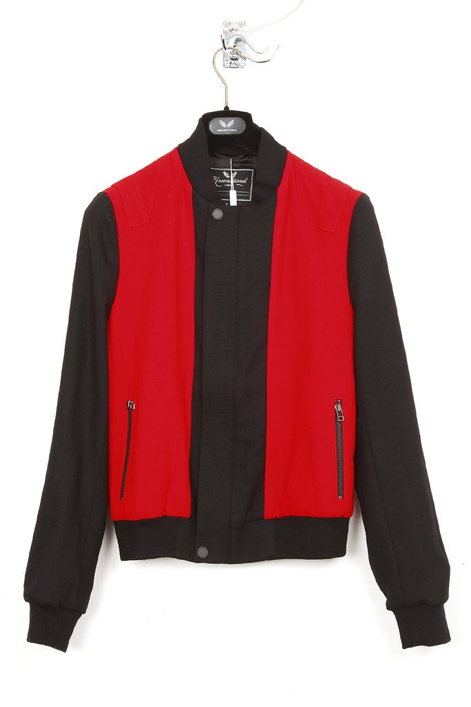 UNCONDITIONAL black and red bomber jacket pure wool crepe lined in silk satin.