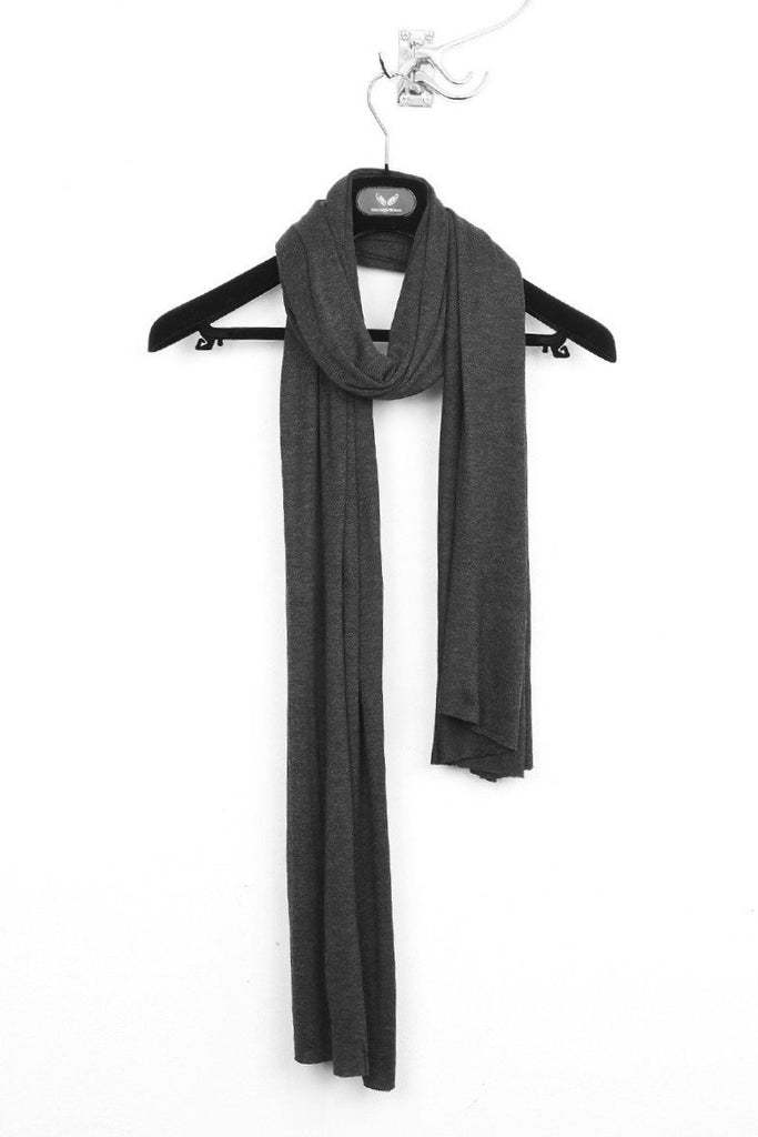 UNCONDITIONAL cashmere feel charcoal rayon loose knit scarf.