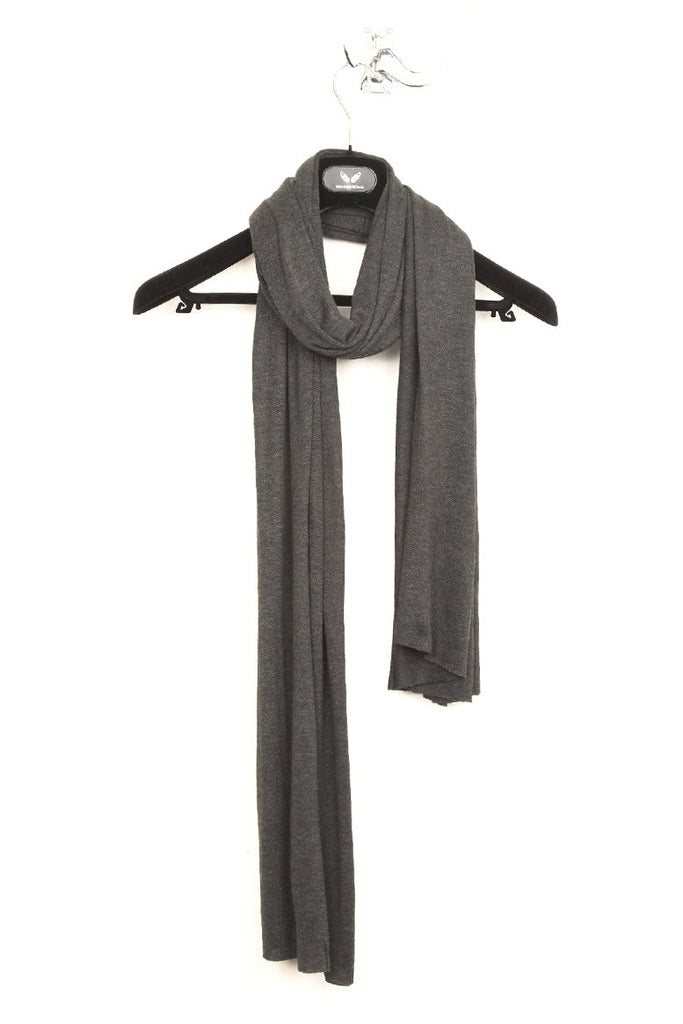 UNCONDITIONAL charcoal rayon loose knit scarf.