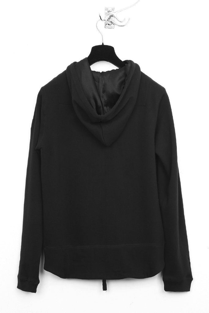 UNCONDITIONAL black and black zip up sweat-shirting hoodie with silk stars applied.