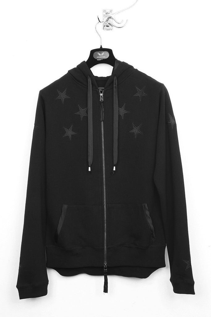 UNCONDITIONAL black zip up sweat hoodie with black silk stars