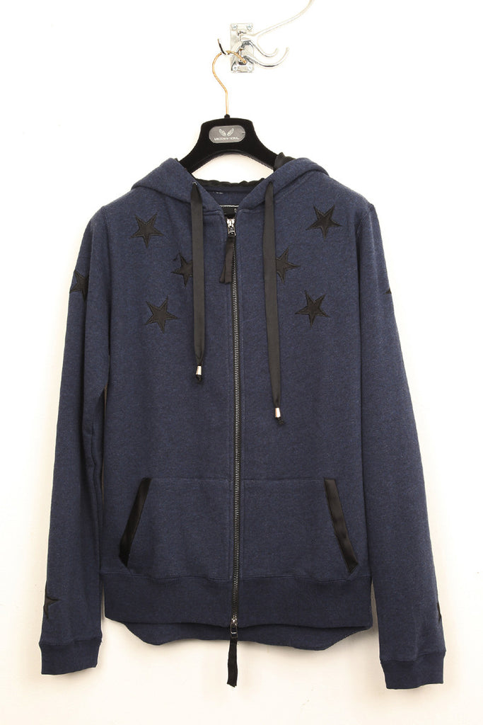 UNCONDITIONAL navy melange and black zip up sweat-shirting hoodie with stars applied .