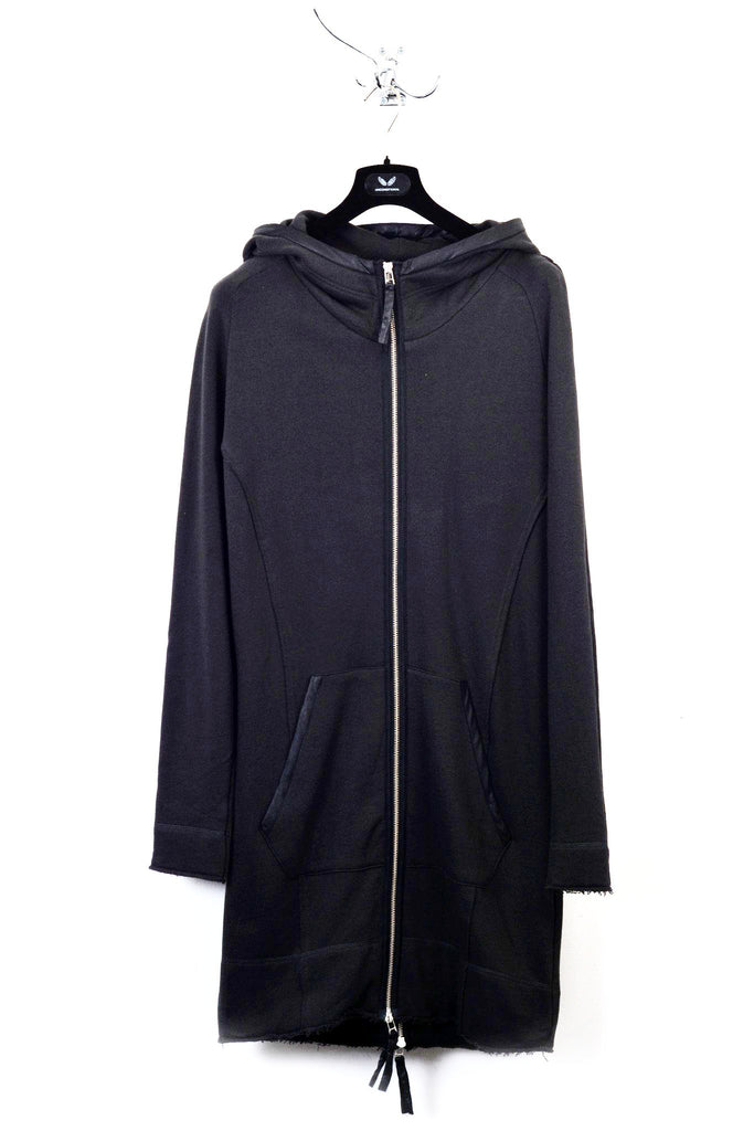 UNCONDITIONAL AW18 BLACK LONG SPACE HOODIE ZIP UP SWEAT COAT WITH BACK ZIP
