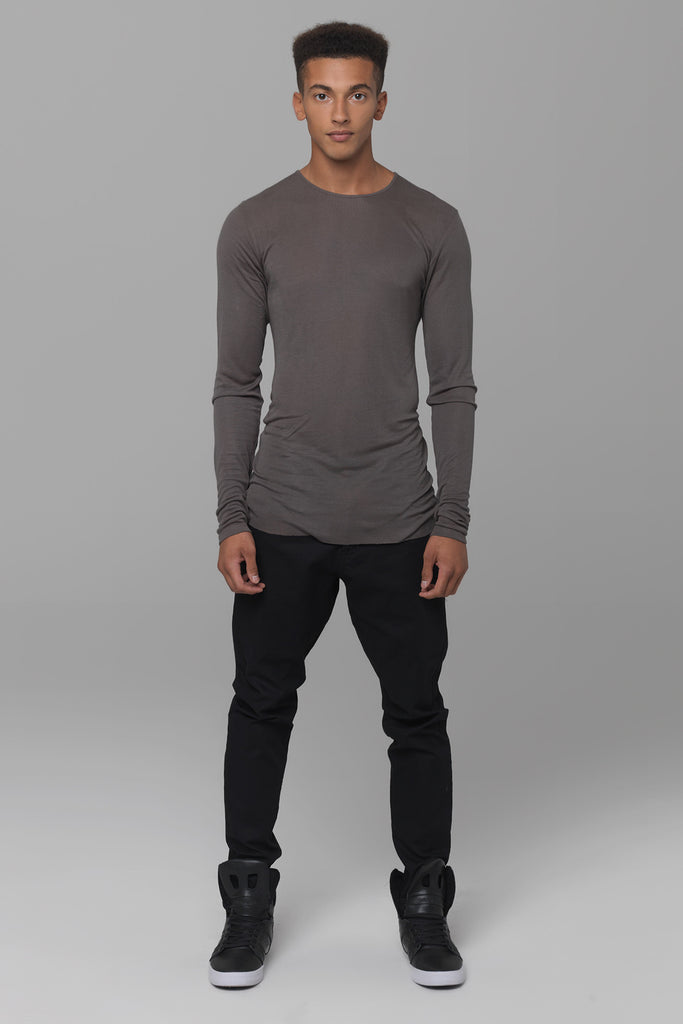 UNCONDITIONAL long sleeved dirt rayon rib crew neck T-shirt