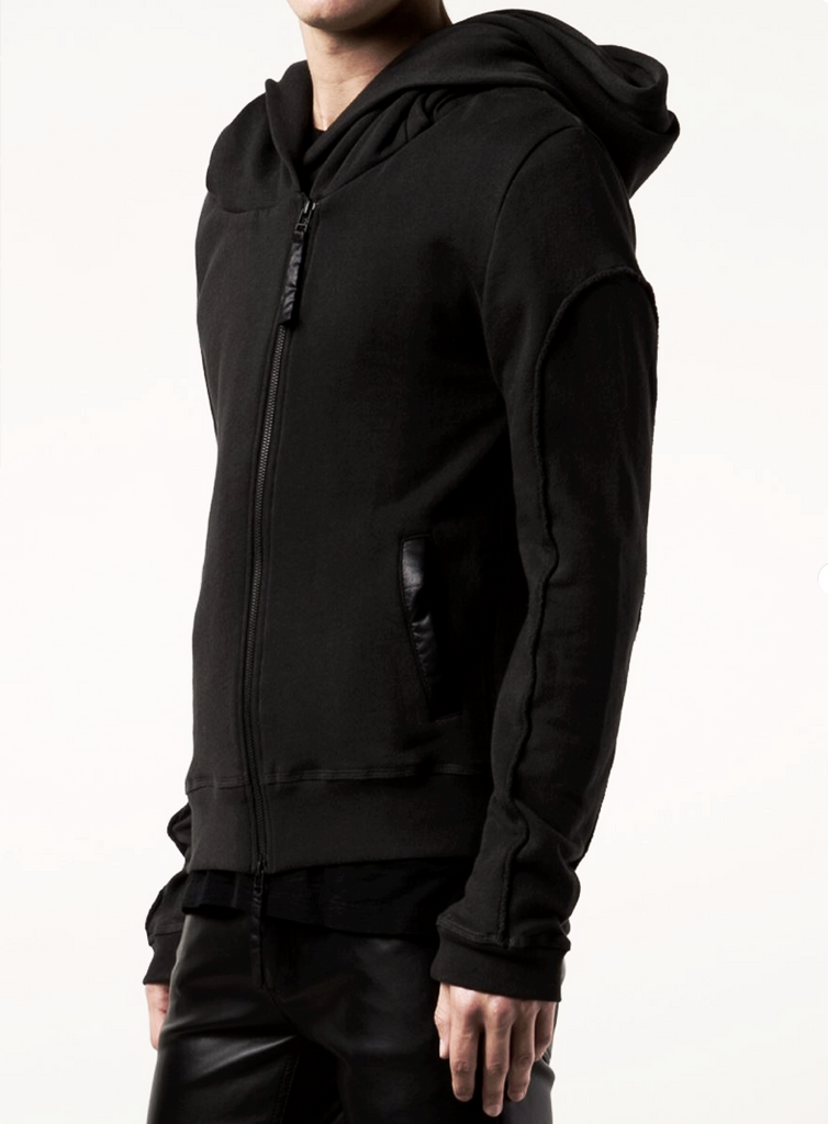 UNCONDITIONAL's AW16 Signature Black biker tail hoodie with piped arm detailing